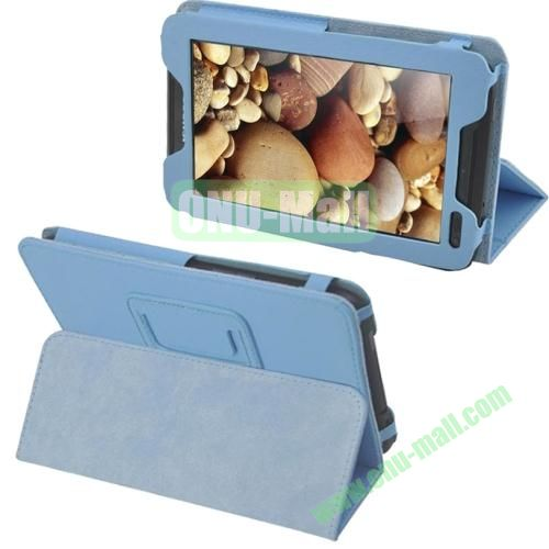 Litchi Pattern Leather Case for Lenovo A1000 with Holder (Blue)