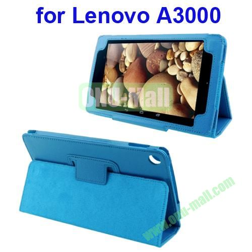 Litchi Pattern Leather Case for Lenovo A3000 with Holder(Blue)