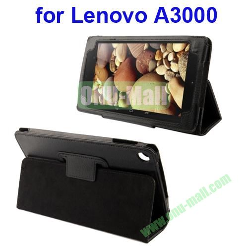 Litchi Pattern Leather Case for Lenovo A3000 with Holder(Black)