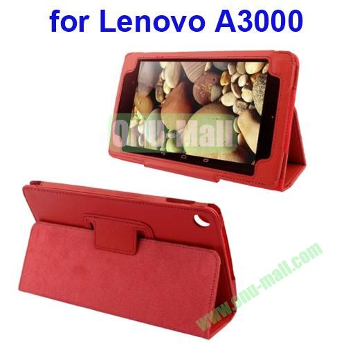 Litchi Pattern Leather Case for Lenovo A3000 with Holder(Red)