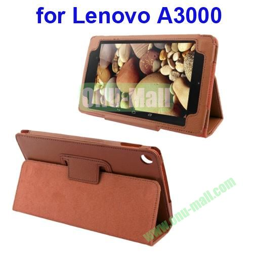 Litchi Pattern Leather Case for Lenovo A3000 with Holder(Brown)