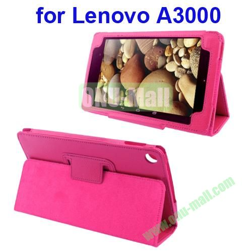 Litchi Pattern Leather Case for Lenovo A3000 with Holder(Rose)