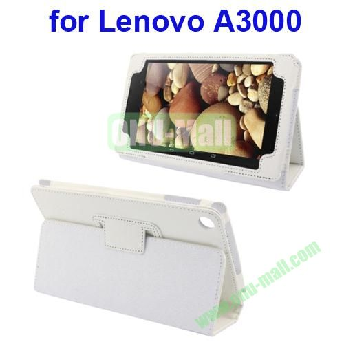 Litchi Pattern Leather Case for Lenovo A3000 with Holder(White)