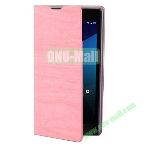 Wood Texture Leather Case for Lenovo A706 with Card Slots and Holder & Wake-up Function (Pink)