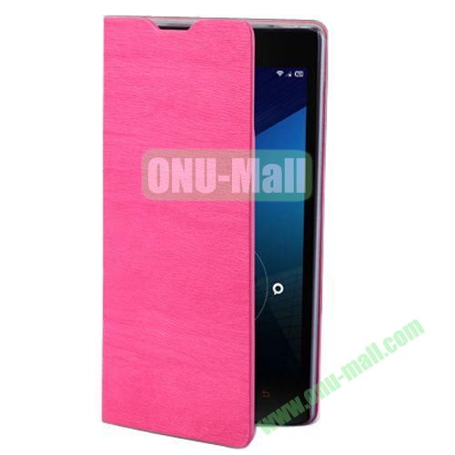 Wood Texture Leather Case for Lenovo A706 with Card Slots and Holder & Wake-up Function (Rose)