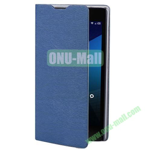 Wood Texture Leather Case for Lenovo A706 with Card Slots and Holder & Wake-up Function (Dark Blue)