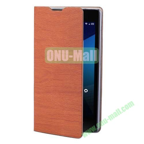Wood Texture Leather Case for Lenovo A706 with Card Slots and Holder & Wake-up Function (Brown)