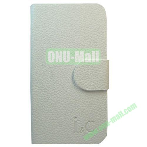 Litchi Texture Leather Case for Lenovo A706 with Holder (White)