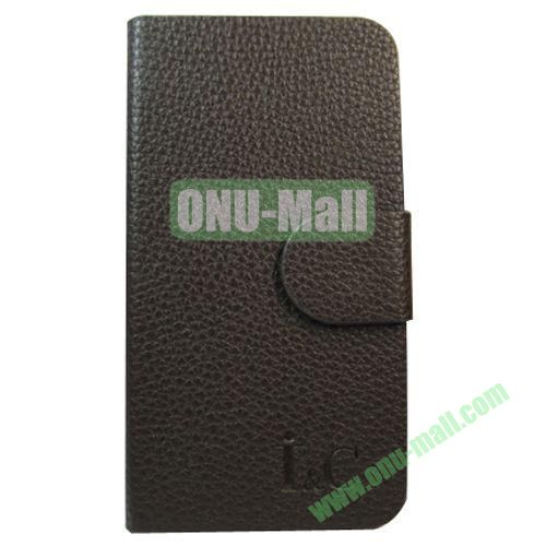 Litchi Texture Leather Case for Lenovo A706 with Holder (Black)