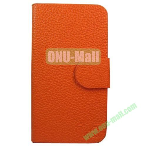 Litchi Texture Leather Case for Lenovo A706 with Holder (Orange)