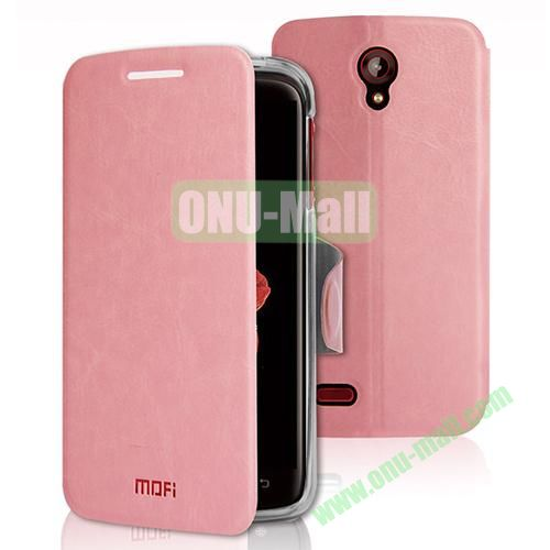 Mofi Leather Case for Lenovo S820 with Holder (Pink)