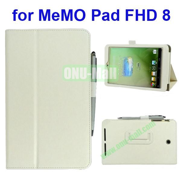 Leather Case for Asus MeMo Pad FHD 8 with Card Slots and Armband (White)