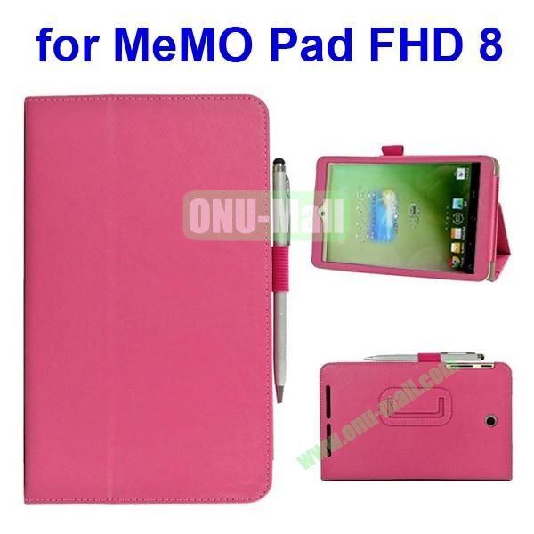 Leather Case for Asus MeMo Pad FHD 8 with Card Slots and Armband (Rose)
