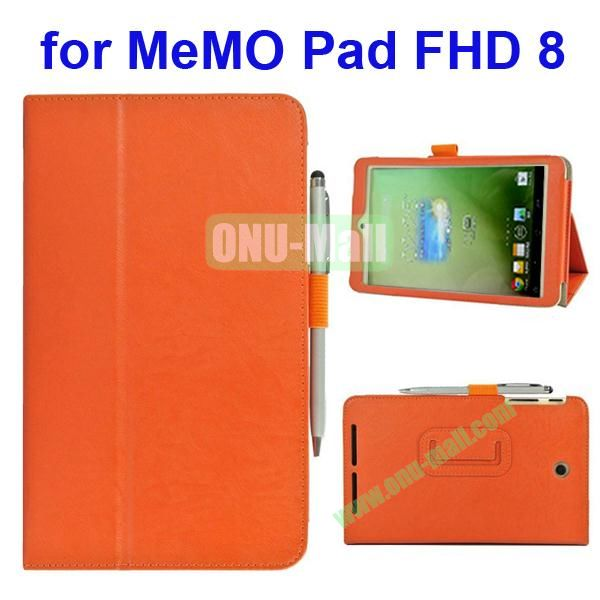 Leather Case for Asus MeMo Pad FHD 8 with Card Slots and Armband (Orange)