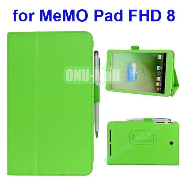 Leather Case for Asus MeMo Pad FHD 8 with Card Slots and Armband (Green)
