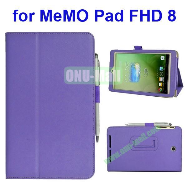 Leather Case for Asus MeMo Pad FHD 8 with Card Slots and Armband (Purple)
