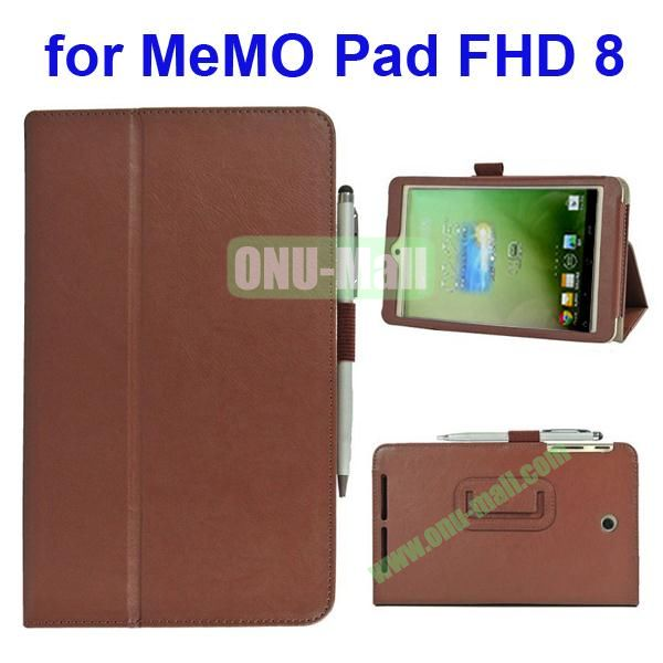 Leather Case for Asus MeMo Pad FHD 8 with Card Slots and Armband (Brown)