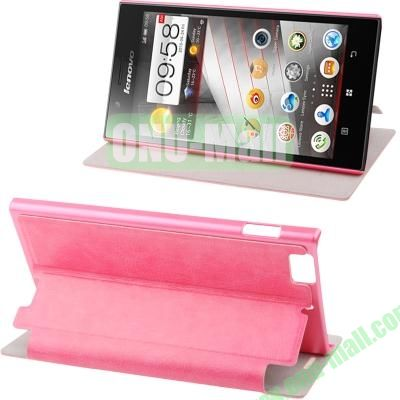 Sheepskin Texture Leather Case for Lenovo K900 with Wake-up Function (Pink)