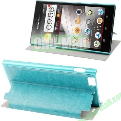 Sheepskin Texture Leather Case for Lenovo K900 with Wake-up Function (Turquoise)