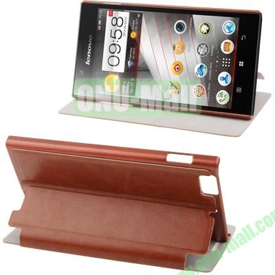 Sheepskin Texture Leather Case for Lenovo K900 with Wake-up Function (Brown)