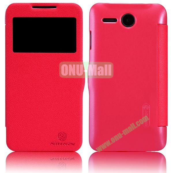 NILLKIN Litchi Texture Caller ID Display Window Flip Leather Case for Lenovo A680 (Red)