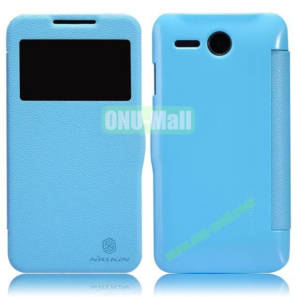 NILLKIN Litchi Texture Caller ID Display Window Flip Leather Case for Lenovo A680 (Blue)