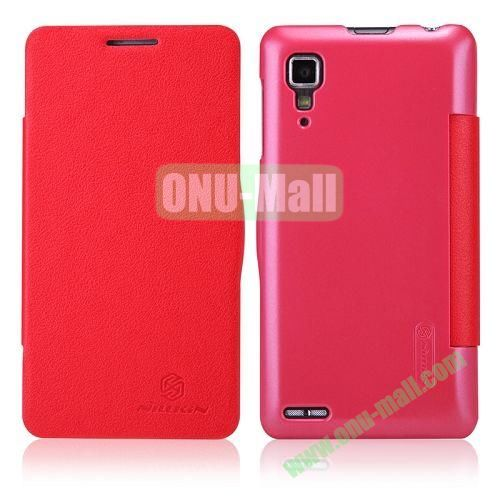 Nillkin Litchi Texture Flip Leather Case For Lenovo P780 with Smart Sleep Wake Function (Red)