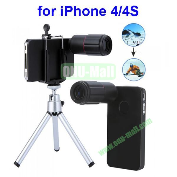 8X Telescope Magnifier Optical Camera Zoom Lens for iPhone 4 4S With Tripod + Holder + Case (Black)