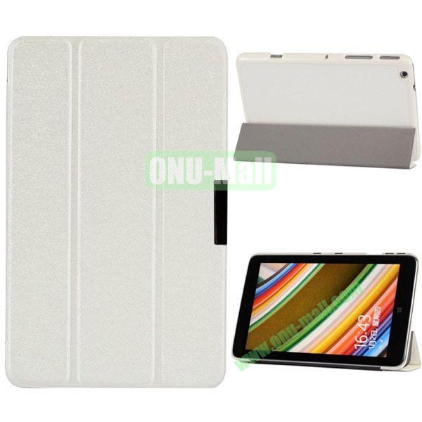 3-folding PU Leather Cover for Lenovo Miix 2 with Holder (White)