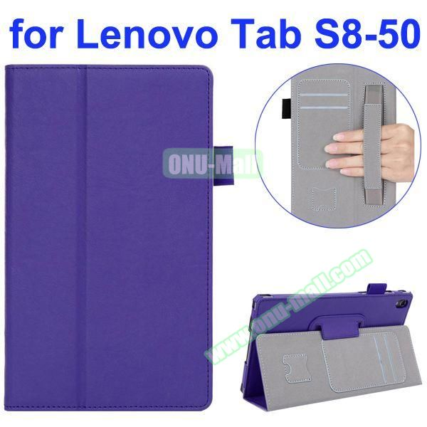 Smooth Texture Flip Leather Case for Lenovo Tab S 8-50 with Filco and Card Slots (Purple)