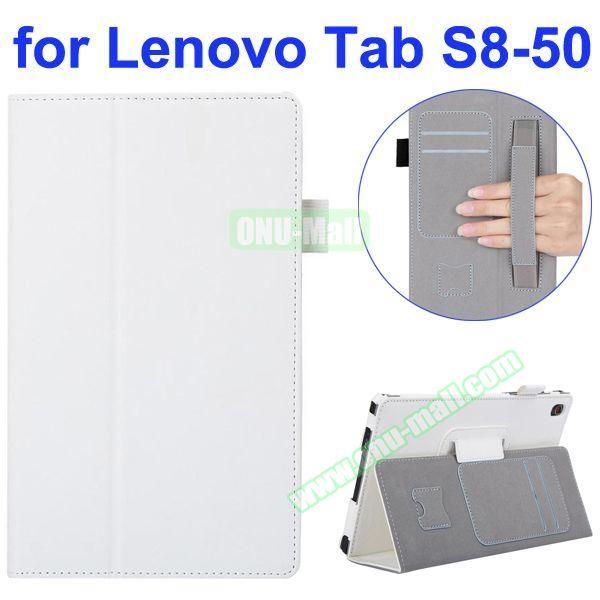 Smooth Texture Flip Leather Case for Lenovo Tab S 8-50 with Filco and Card Slots (White)
