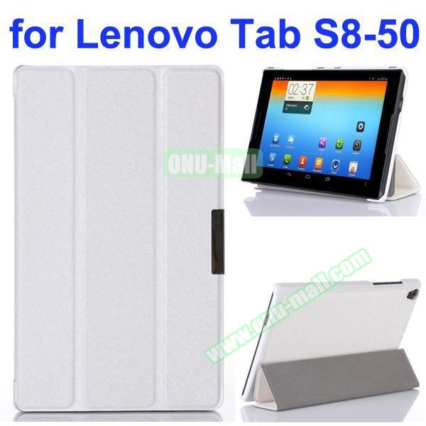 Silk Texture 3 Folding Stand Flip Leather Case for Lenovo Tab S8-50 (White)