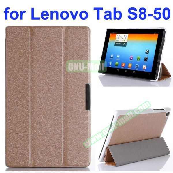 Silk Texture 3 Folding Stand Flip Leather Case for Lenovo Tab S8-50 (Brown)