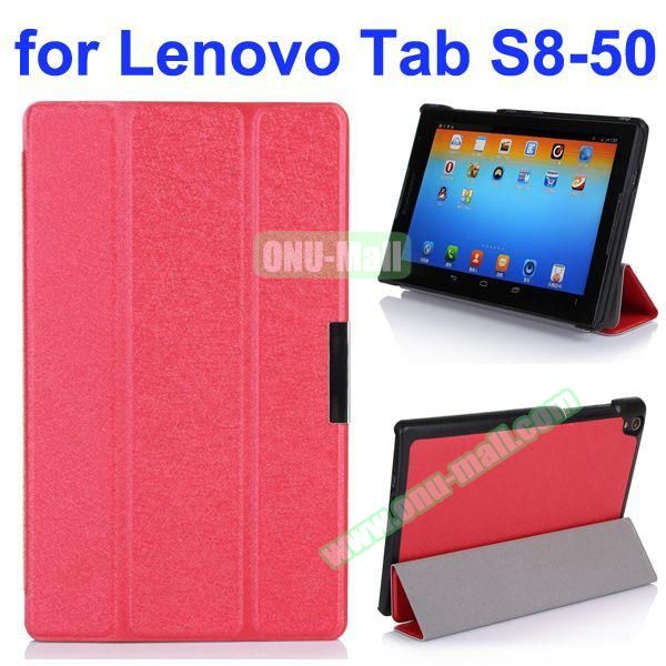Silk Texture 3 Folding Stand Flip Leather Case for Lenovo Tab S8-50 (Red)