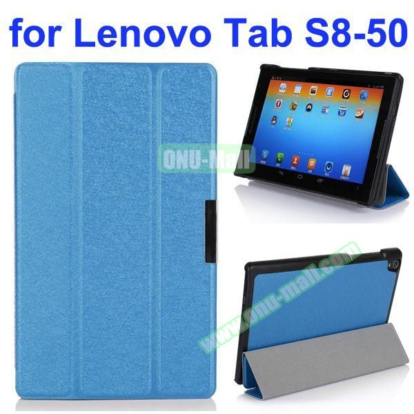 Silk Texture 3 Folding Stand Flip Leather Case for Lenovo Tab S8-50 (Blue)