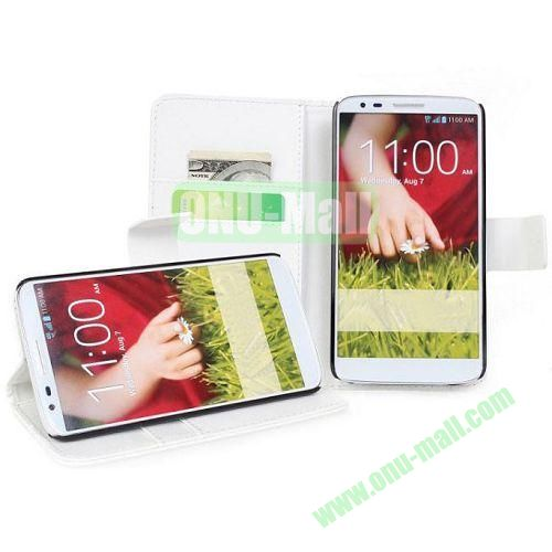 PU Material Wallet Leather Case for LG G2D802 with Card Slots and Holder (White)