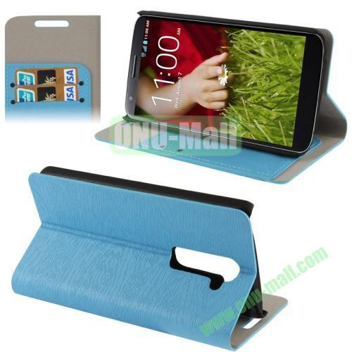 Wood Texture Leather Case for LG G2D802 with Credit Card Slots & Holder (Blue)