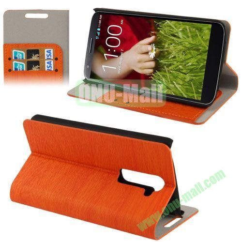 Wood Texture Leather Case for LG G2D802 with Credit Card Slots & Holder (Orange)