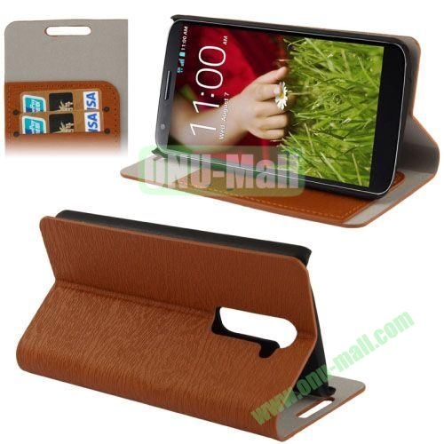 Wood Texture Leather Case for LG G2D802 with Credit Card Slots & Holder (Brown)
