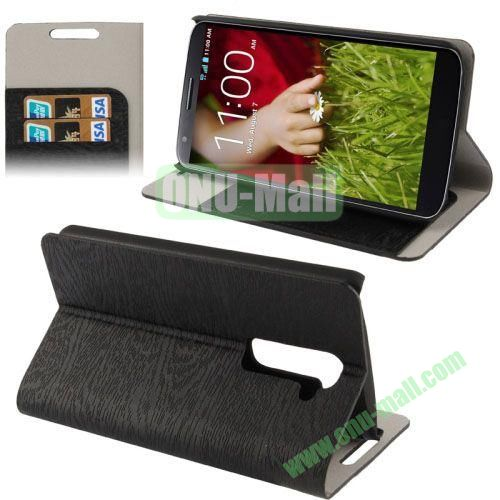Wood Texture Leather Case for LG G2D802 with Credit Card Slots & Holder (Black)