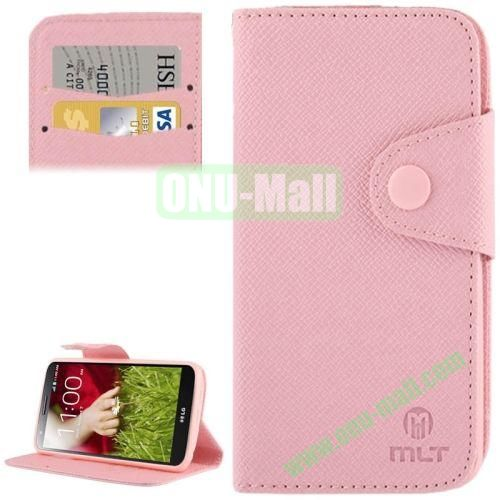 Leather Case for LG Optimus G2  D801  F320  F340L  LS980 with Credit Card Slot & Holder (Pink)