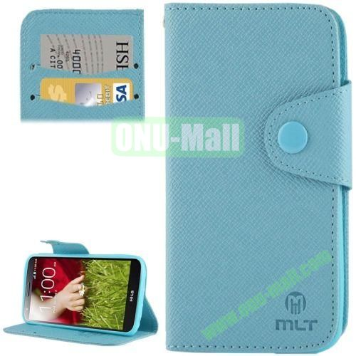 Leather Case for LG Optimus G2  D801  F320  F340L  LS980 with Credit Card Slot & Holder (Blue)