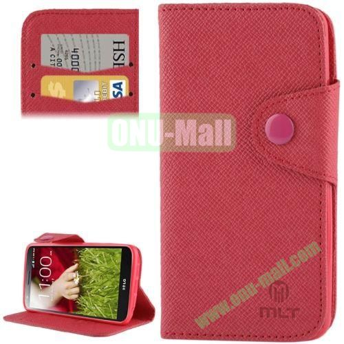 Leather Case for LG Optimus G2  D801  F320  F340L  LS980 with Credit Card Slot & Holder (Red)