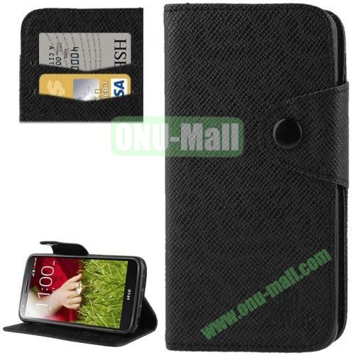 Leather Case for LG Optimus G2  D801  F320  F340L  LS980 with Credit Card Slot & Holder (Black)