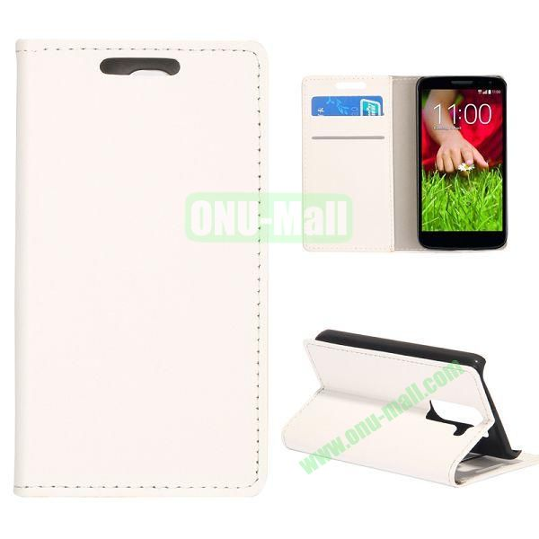 Smooth Texture Wallet Pattern Leather Case for LG G2 Mini D610 D618 with Credit Card Slots and Stand (White)