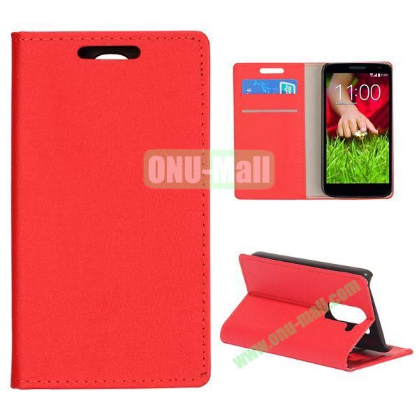 Smooth Texture Wallet Pattern Leather Case for LG G2 Mini D610 D618 with Credit Card Slots and Stand (Red)