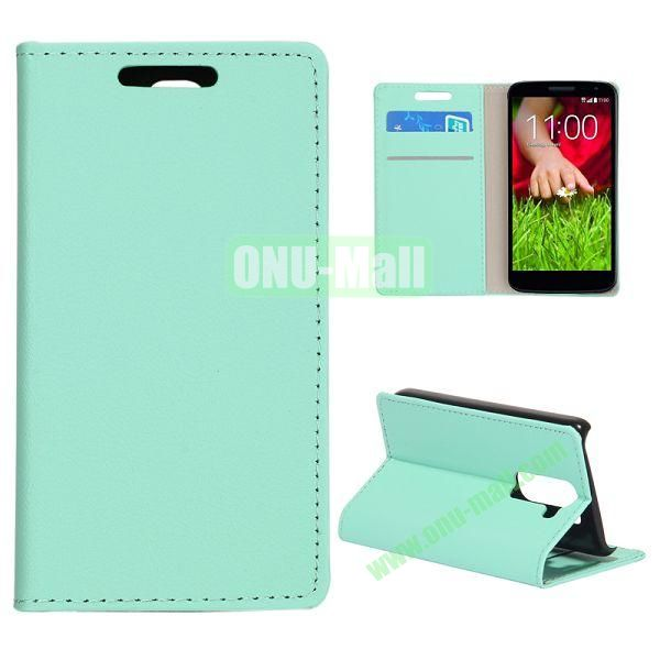 Smooth Texture Wallet Pattern Leather Case for LG G2 Mini D610 D618 with Credit Card Slots and Stand (Light Green)