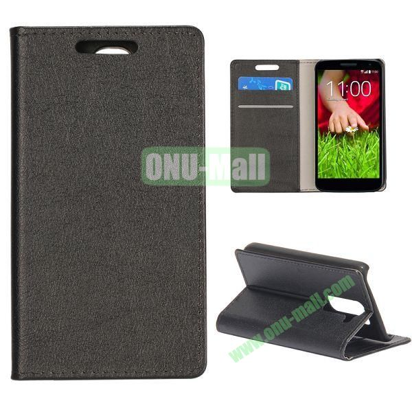 Smooth Texture Wallet Pattern Leather Case for LG G2 Mini D610 D618 with Credit Card Slots and Stand (Black)