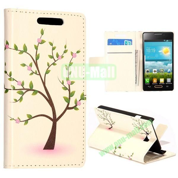 Green Tree Pattern Wallet Style Leather Case with Card Slots and Holder for LG Optimus L9 II  D605