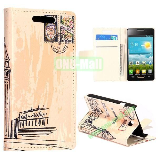 Big Ben Pattern Wallet Style Leather Case with Card Slots and Holder for LG Optimus L9 II  D605